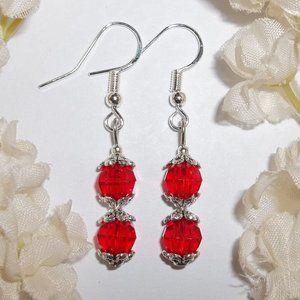 Little Red Beaded Earring Set Handmade NWT 5512
